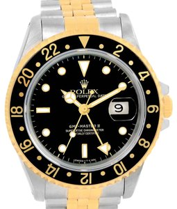 Rolex Rolex GMT Master II Mens 18k Yellow Gold Black Dial Watch 16713