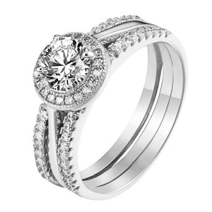 Master Of Bling Womens Wedding Ring Sterling Silver Halo Design Solitaire Lab Diamond