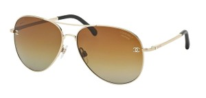 Chanel NEW Pilot Signature Sunglasses CH 4189TQ c. 395/S9 Pale Gold Polarized