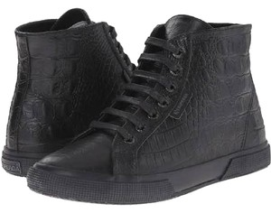 Superga Casual Tennis High Top Black Embossed Croc Athletic
