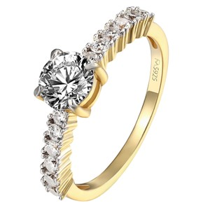 Master Of Bling Solitaire Wedding Ring Womens Bridal Engagement 14k Gold On 925 Silver