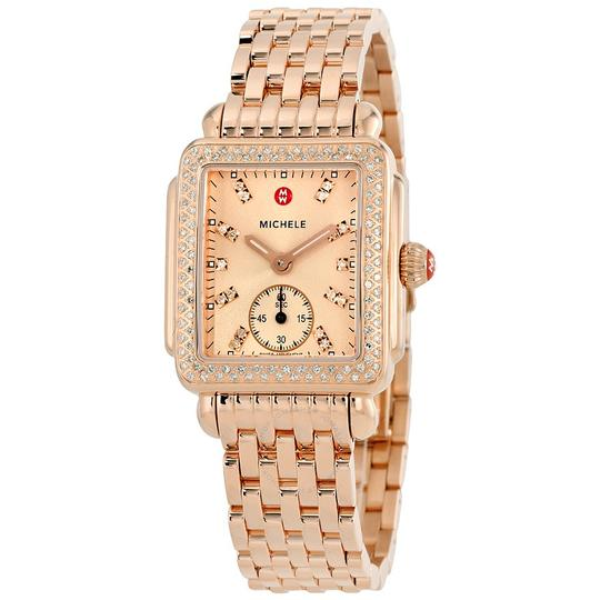 Michele gold deco 16 diamond rose watch tradesy for Deco maison rose gold
