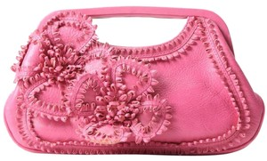 Isabella Fiore Leather Ruffled Flower pink Clutch