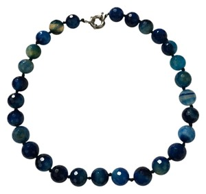 Other Genuine Blue Indigo Turquoise Faceted Round Stone Statement Necklace