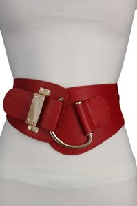Other Women Elastic Waistband Belt Red Hip High Waist Metal Hook