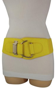 Other Women Elastic Waistband Belt Yellow Hip High Waist Metal Hook