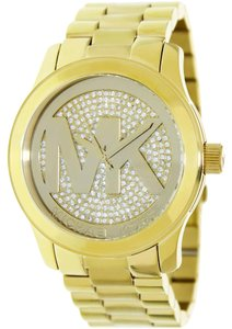 Michael Kors NWT Women's Runway Gold Dial Crystal Pave Gold-tone Watch MK5706