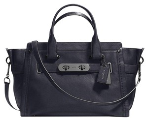 Coach Swagger Strap Detachable Gunmetal Hardware Soft Leather New Satchel in navy
