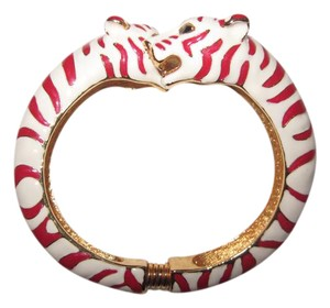 Kenneth Jay Lane Kenneth Jay Lane Tiger Cuff Red White Bangle Bracelet Enamel Spring