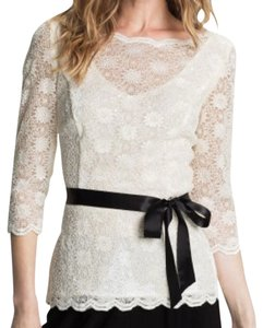 Alex Evenings Lace Tie Spring Top White