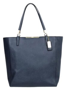 Coach Blue Crossgrain Handles Hang Tag Tote in Navy