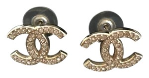 Chanel Chanel 14B Classic Collection Iconic CC Gold Tone Pearl Earrings
