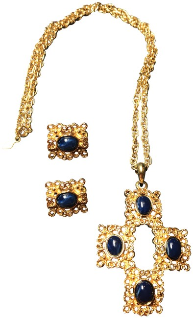 Item - Gold and Blue Cross Earrings Necklace