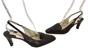 Ann Taylor Made Italy Brown patent and regular leather slingback Italian penny loafer Pumps