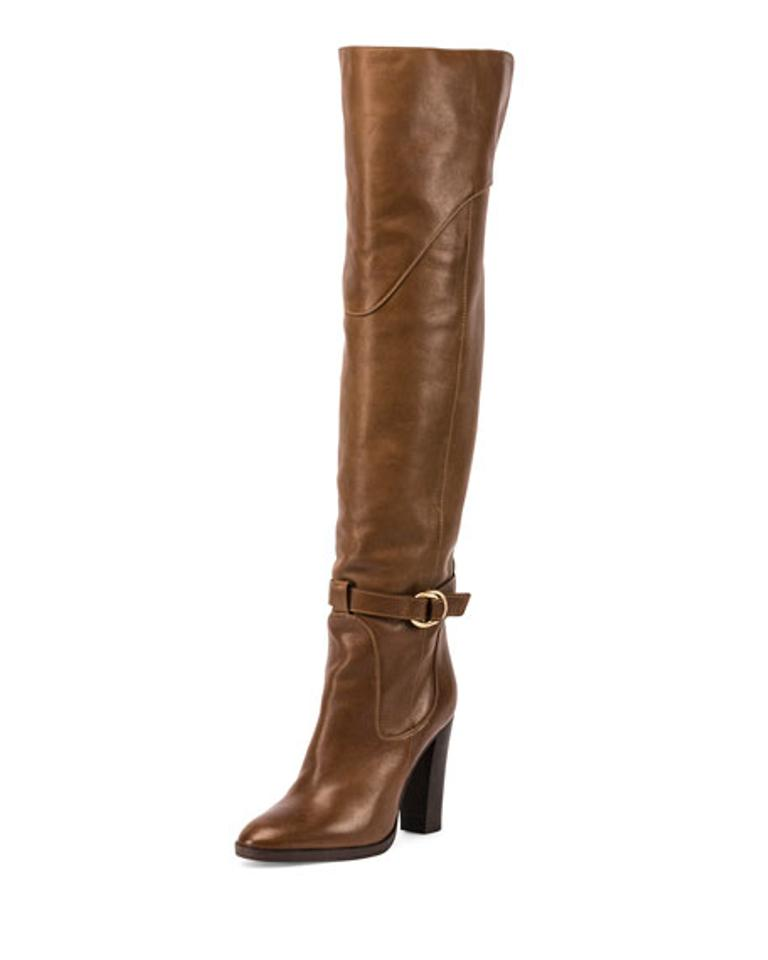 c4849f89e24 Chloé Brown Buckle Leather Over-the-knee Boots Booties Size EU 37 ...