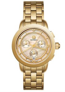 Tory Burch NWT Gold Tone Mother Of Pearl Chronograph watch