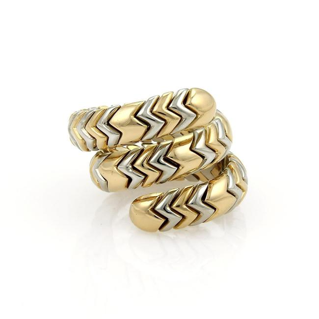 Item - Yellow Gold & Steel Spiga 18k Wide Wrap Band Size 6 Ring