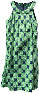 Dizzy Lizzie short dress navy blue with green and white Sleeveless Cotton Print on Tradesy