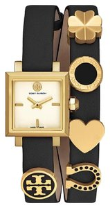 Tory Burch NWT Saucy Gold Tone Black Leather Double Wrap watch