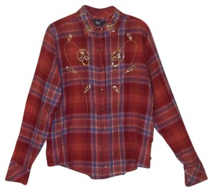 Cruel Girl Sequins Western Sequin Button Down Shirt Red Plaid