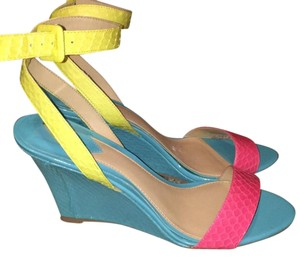 Brian Atwood neon blue, pink and yellow Wedges