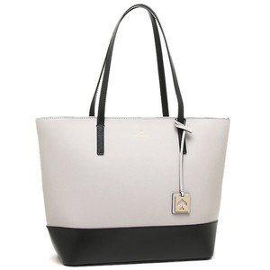 Kate Spade Zip Top Leather Black Leather Two-tone Tote in Gray