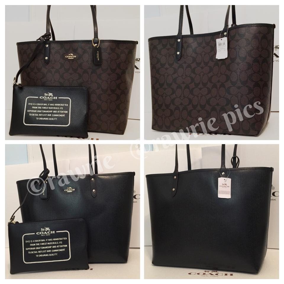 f1d043bf1a5 Coach City Reversible Signature Brown Large Tote with Pouch Black Pvc  Weekend/Travel Bag 51% off retail