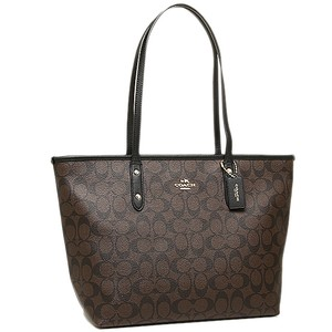 Coach Monogram Zip Top Classic Tote in brown