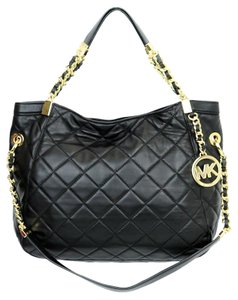 Michael Kors Quilted Leather Laced Chain Gold Hardware Satchel in black