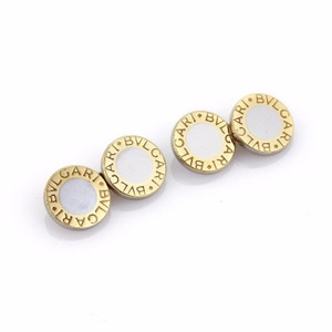 BVLGARI Bulgari 18k Yellow Gold & Steel Circle Disc Chain Cufflinks