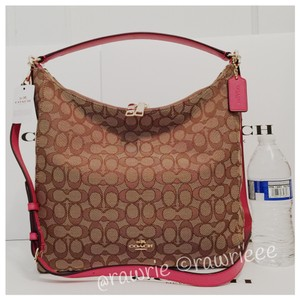 Coach Strap Slouchy Monogram Zip Top Pink Leather Hobo Bag