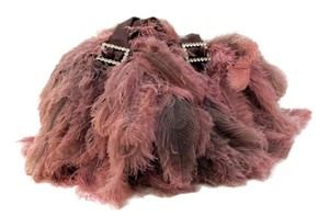 Other Tote in Dusty Rose Ostrich Feather Oversized Tote Handbag Purse with Rhinestone Buckles