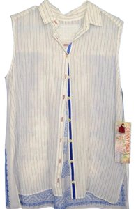 Johnny Was Sheer Sleeveless Embroidered Cotton Button Down Shirt white blue