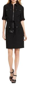 Michael Kors short dress BLACK Roll Sleeve Belted Zipper Front Closure Snap Pockets on Tradesy