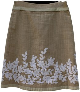 Magaschoni Cotton Above Knee Applique Skirt tan and ivory