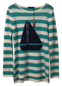 Hannah Rose Cashmere Summer Sailboat Stripes Soft Sweater