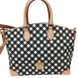 Dooney & Bourke & Gingham Pattern Tote in black and white