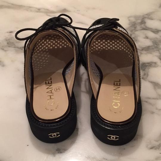 Chanel Silver, White, Black Mules Image 3
