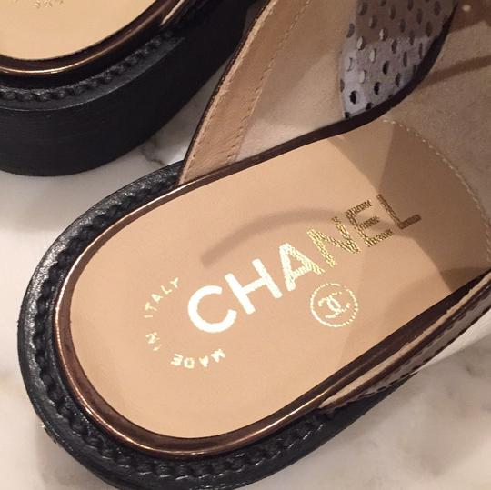 Chanel Silver, White, Black Mules Image 7
