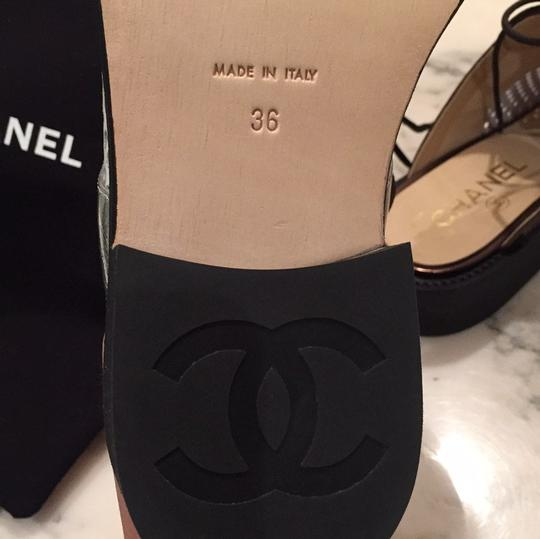 Chanel Silver, White, Black Mules Image 8