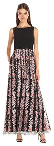 Adrianna Papell Embroidered Gown V-back Jersey Dress