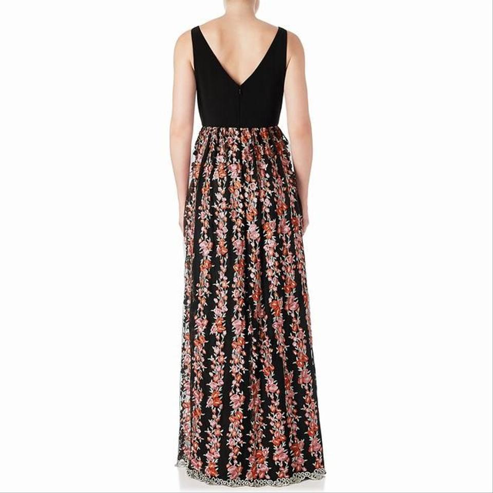 Adrianna Papell Black Embroidered Jersey Gown with V-back Long ...