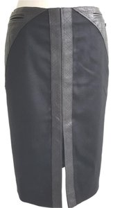 Chanel Lambskin Pencil Wool Skirt Black