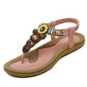 Purposed By Design by Siketu Beaded Bohemain Gladiator Flat Tribal Pink Sandals