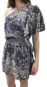 Parker One Shoulder short dress navy and off white Silk on Tradesy
