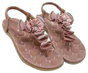 Purposed By Design Flat Thong Sequin Quilted Floral Pink Sandals
