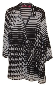 Sunny Leigh Tunic Fit Cover Up Sheer Top black white