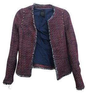 Zara Tweed Red and Blue with studs Jacket