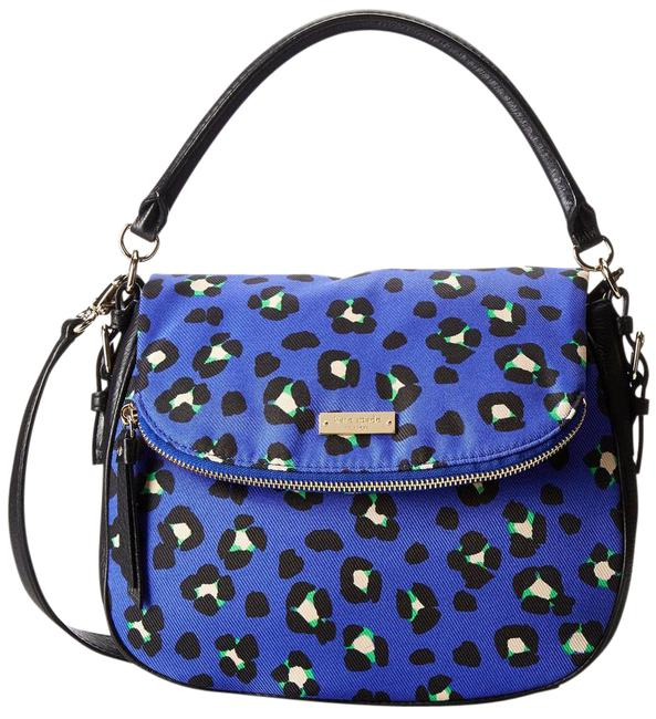 Item - (Nwt) Cobble Hill Fabric Small Devin Emperor Blue / Black Cowhide Leather / Polyester Cross Body Bag