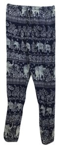 Sau Da Des Baggy Leggings Comfy Ankle Light-weight Trouser Pants navy and white